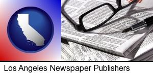Los Angeles, California - a newspaper, with reading glasses and fountain pen