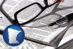 minnesota map icon and a newspaper, with reading glasses and fountain pen
