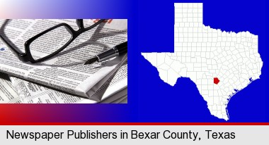 a newspaper, with reading glasses and fountain pen; Bexar County highlighted in red on a map