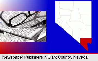a newspaper, with reading glasses and fountain pen; Clark County highlighted in red on a map