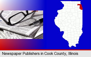 a newspaper, with reading glasses and fountain pen; Cook County highlighted in red on a map
