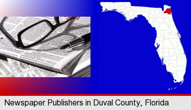 a newspaper, with reading glasses and fountain pen; Duval County highlighted in red on a map