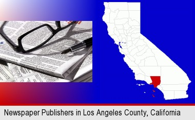 a newspaper, with reading glasses and fountain pen; Los Angeles County highlighted in red on a map