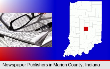 a newspaper, with reading glasses and fountain pen; Marion County highlighted in red on a map