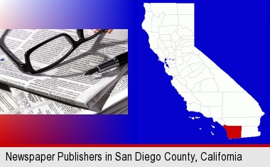 a newspaper, with reading glasses and fountain pen; San Diego County highlighted in red on a map