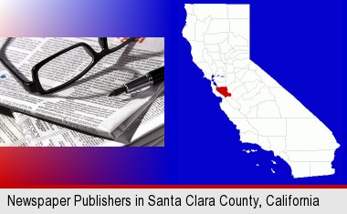a newspaper, with reading glasses and fountain pen; Santa Clara County highlighted in red on a map