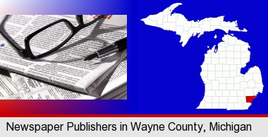 a newspaper, with reading glasses and fountain pen; Wayne County highlighted in red on a map